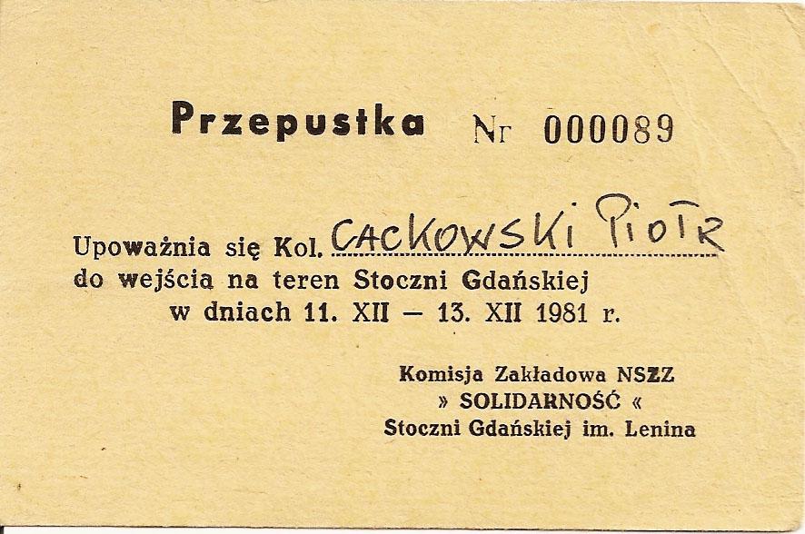 Przepustka Stocznia Gdańska